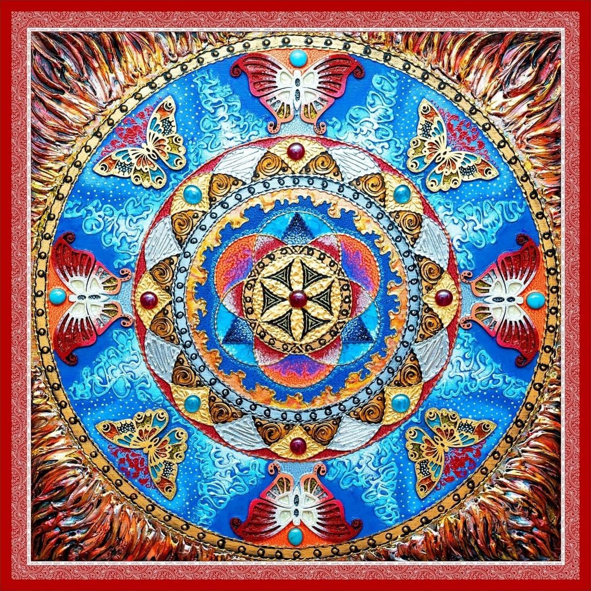 """Шелковый платок """"Раскрытия женской энергии и духовного роста"""""""