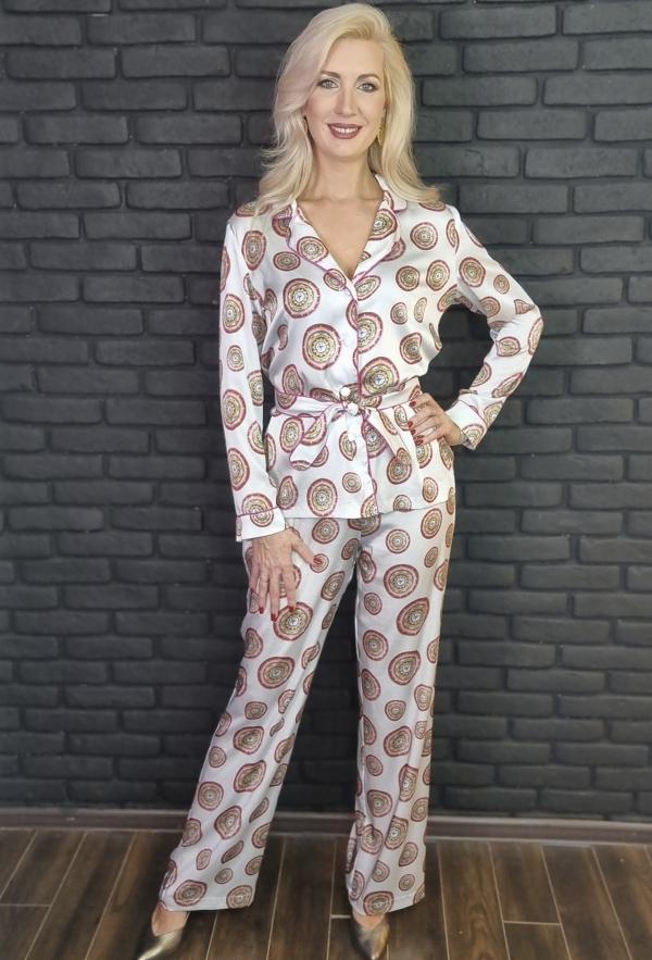 """Шёлковый брючный костюм в пижамном стиле с принтом Мандалы """"Раскрытия Любви"""""""