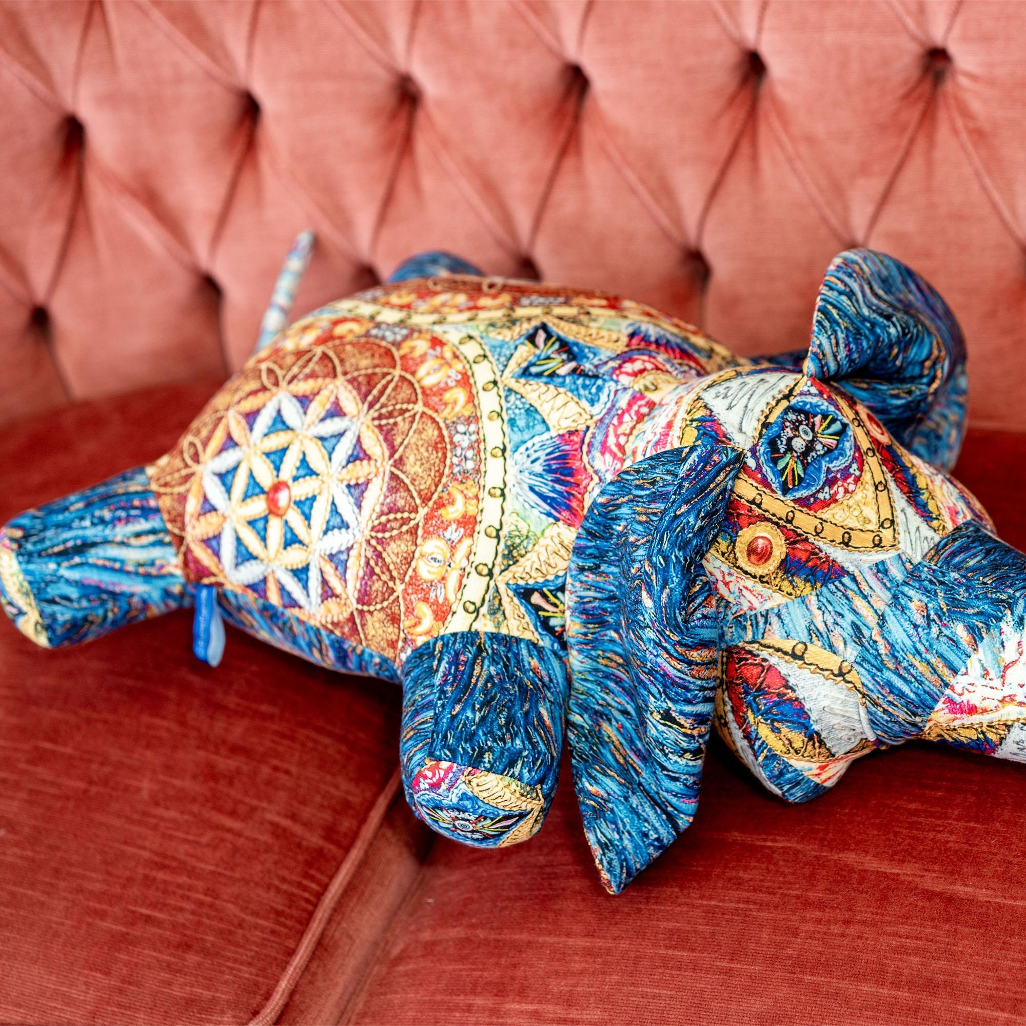 """""""Слон"""" (голубой) с Мандалой """"Цветок Души"""""""